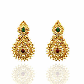 Gold Earrings with Red and Green Enamel