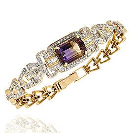 Ametrine and Diamond Bracelet in Gold