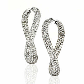 Pave Diamond Twisted Hoop Earrings in Gold