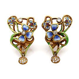 Nouveau Enamel Earrings in Gold