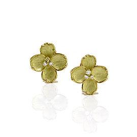 Diamond Flower Earrings in Gold
