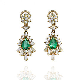 Emerald and Diamond Drop Earrings in Gold