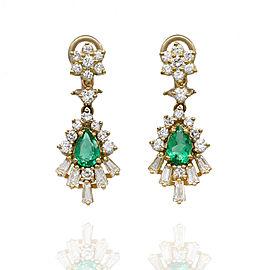 Emerald and Diamond Drop Earrings in Gold