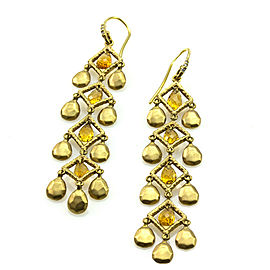 Citrine Briolette & Satin Finish Gold Disc Dangle Earrings in 14K Yellow Gold