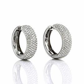 Pave Diamond Hoop Earrings in Gold