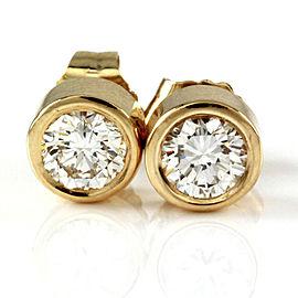 Round Brilliant Cut Diamond Bezel Set Stud Earrings in 14K Yellow Gold