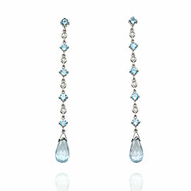 Blue Topaz and Diamond Earrings in Gold