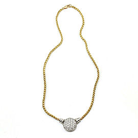 18K Yellow Gold Textured Wheat Link Necklace with Platinum Pave Diamond Station