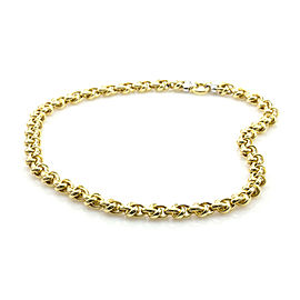 Gold Knot Link Necklace w/ Pave Diamond Accents in 18K Gold