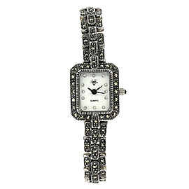 Vintage Solid 925 Sterling Silver Marcasite Quartz Ladies Watch