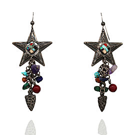 Q.T. Southwestern Sterling Silver Turquoise Lapis Amethyst Star Dangle Earrings
