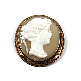 Vintage 14K Yellow Gold Shell Cameo Brooch