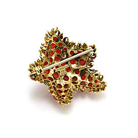 1960s TIFFANY & Co. Coral Cabochon Cluster with Diamond Starfish Brooch in Gold