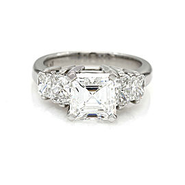Platinum Diamond Engagement 5 Stone Ring Asscher Center