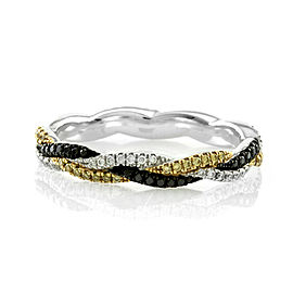 Hidalgo Micro-Pave Black, Yellow and White Diamond Braided Eternity Band in Gold
