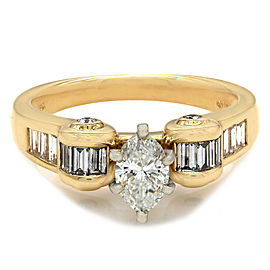 0.58ct Marquise Cut Diamond Engagement Ring in 18K Yellow Gold
