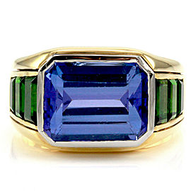 Tanzanite Ring with Tsavorite Garnet Accents in 18K Yellow Gold & Platinum