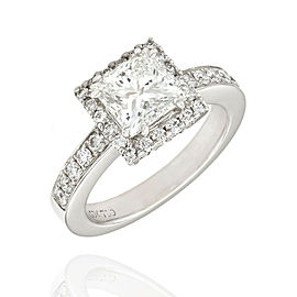 GIA Certified 1.67ct Princess Cut Diamond Engagement Ring in 18K White Gold