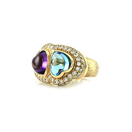 Amethyst and Blue Topaz Cabochon Double Heart Ring with Diamonds in Gold