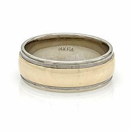 Gentlemans Milgrain Wedding Band Ring in Gold