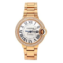 Cartier Ballon Bleu 18k Rose Gold Diamond Bezel Automatic Ladies Watch WE902034