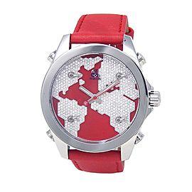 Jacob & Co Five Time Zone Diamond Pave Continent Swiss Quartz Mens Watch JC47SR