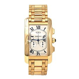 Cartier Tank Americaine 18k Yellow Gold Roman Dial Swiss Quartz Men's Watch 2568
