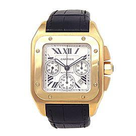 Cartier Santos 100 18k Yellow Gold Automatic Chronograph Men's Watch W20096Y1