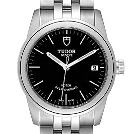 Tudor Glamour Date Black Dial Automatic Steel Mens Watch M55000 Unworn