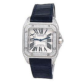 Cartier Santos 100 18k White Gold Diamond Bezel Automatic Ladies Watch WM501751