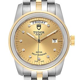 Tudor Glamour Day Date Steel Yellow Gold Diamond Mens Watch 56003 Unworn