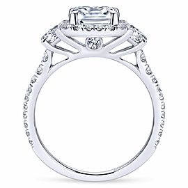 Gabriel & Co. Mix Cut Diamond Halo Ring Mounting in 14K White Gold