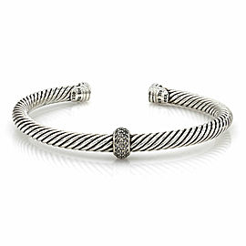 David Yurman Cable Cuff with Diamonds in Sterling Silver and White Gold