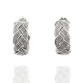 Woven Hoop Earrings in Silver
