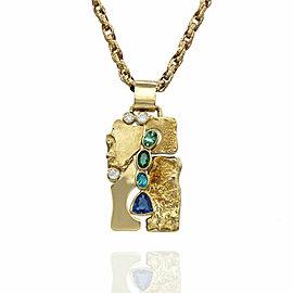 Tourmaline and Diamond Pendant in Gold