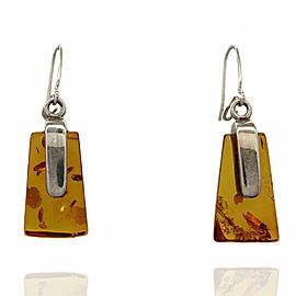 Vintage Navajo Handmade Sterling Silver Amber Dangle Earrings