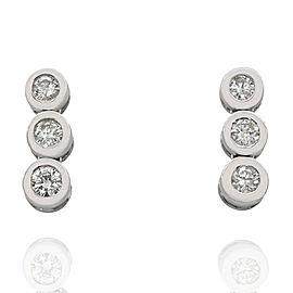 3 Stone Diamond Drop Earrings in Gold