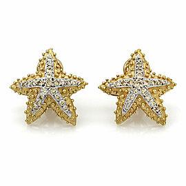 Diamond Starfish Earrings in Gold