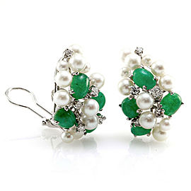 Vintage Genuine Emerald & Pearl Cluster Earrings with Diamonds in 14K White Gold