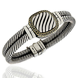Yurman Cable Bracelet with Diamond Accent in Silver and Gold
