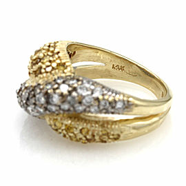 White and Yellow Diamond Ring in Gold