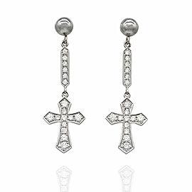 Diamond Cross Drop Earrings in Gold