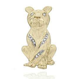 H Stern Diamond Bulldog Brooche in Gold