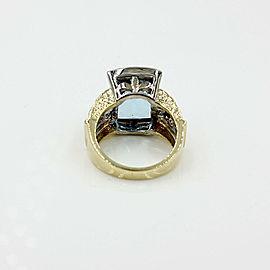 Aquamarine and Diamond Ring in Gold