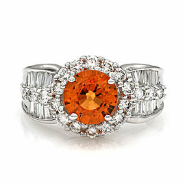 Mandarin Garnet and Diamond Ring in Gold
