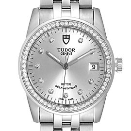 Tudor Glamour Date Silver Dial Diamond Steel Mens Watch M55020 Unworn
