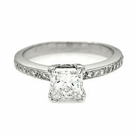 Platinum Diamond Engagement Ring with Princess Cut Diamond Center