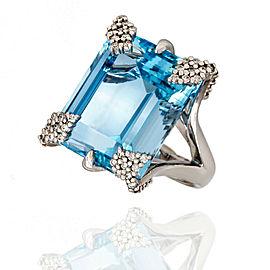 18KW Aquamarine and Diamond Ring