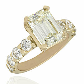 Emerald Cut Diamond Solitaire Ring in Gold
