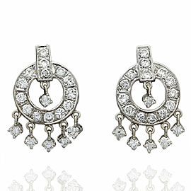 14KW Diamond Circle Dangle Earrings